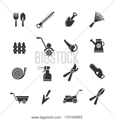 Gardening tools and farming equipment icons. Pruning and hilling, irrigation and fertilization. Black silhouette tools for gardening and agriculture. Vector illustration