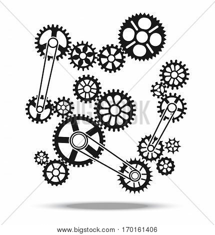 Gears, cogs and wheels vector engine transmission machine design background element. Mechanism with detail machinery illustration