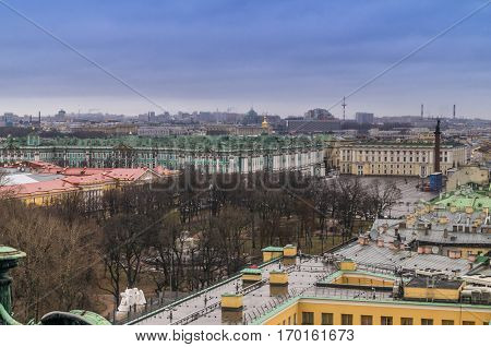 DECEMBER,26,2016, Saint-Petersburg, Russia: view of the city from the colonnade of St. Isaac's Cathedral to Dvortsovaya square and Hermitage.