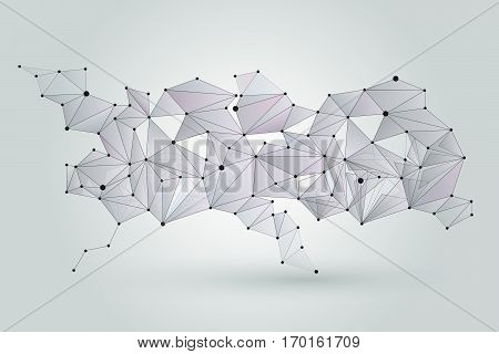 Abstract network background. Digital technology cybernetic connection pattern. Network plexus connect structure illustration