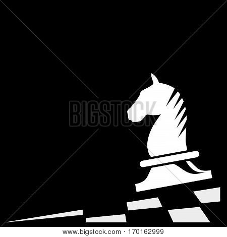 Vector sign horse of chess isolated on black