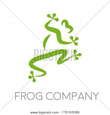 Vector sign frog company isolated on white