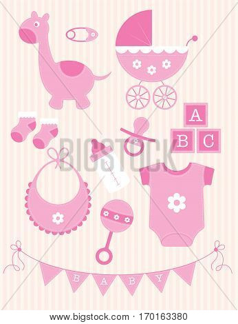 A collection of pink toys and objects for a baby girl