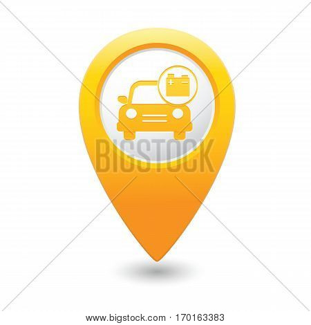 Car service. Car with accumulator icon on yellow map pointer.