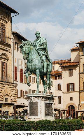 Statue Of Cosimo I De Medici On Piazza Della Signoria In Florence