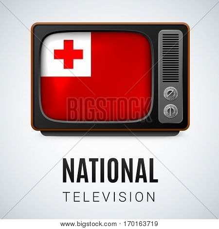 Vintage TV and Flag of Tonga as Symbol National Television. Tele Receiver with Tongan flag