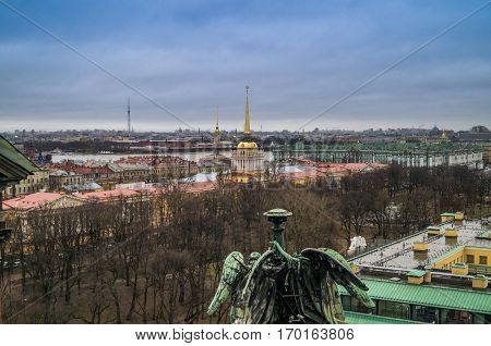 Saint Petersburg ,Russia :view of the city from the colonnade of St. Isaac's Cathedral Admiralty Hermitage Peter and Paul Fortress