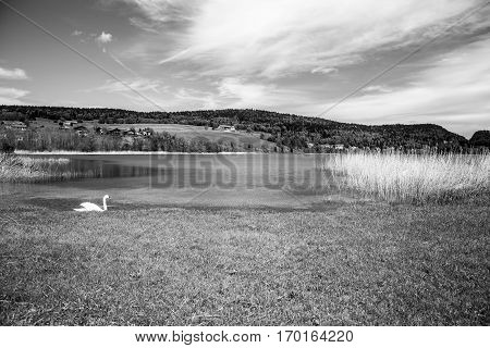 Black and white landscape of the Brenet Lake and Jura mountain Le Pont Switzerland