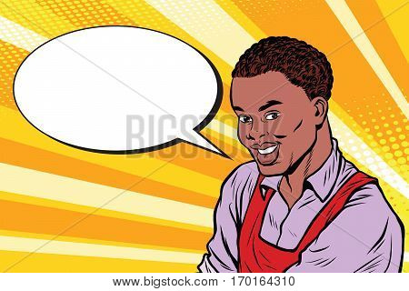 Worker in apron says, the comic book bubble. Vintage pop art retro vector illustration. African American people