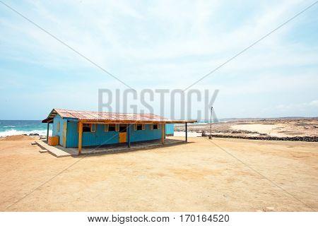 Fisherman hut at the north coast from Aruba island in the Caribbean Sea