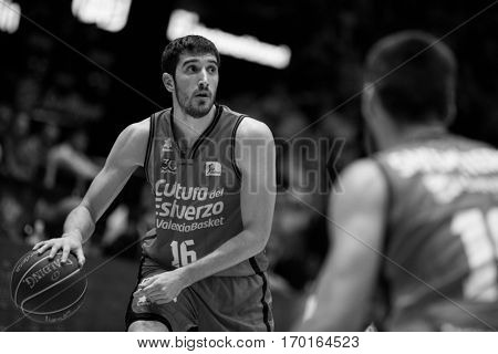 VALENCIA, SPAIN - DECEMBER 3: Guillem Vives with ball during spanish league match between Valencia Basket and Bilbao Basket at Fonteta Stadium on December 3, 2016 in Valencia, Spain