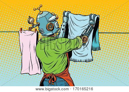 Vintage robot employee hangs up to dry clothes. pop art retro vector illustration. Homework and cleaning service