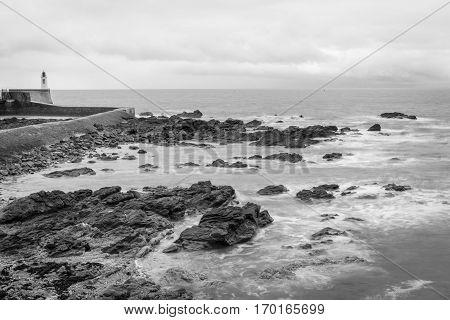 Black and whaite seaside landscape in the winter Les Sables D'olonne Vendée France
