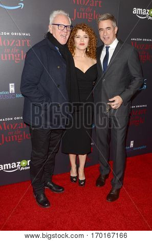 LOS ANGELES - DEC 1:  Malcolm McDowell, Bernadette Peters, Dermot Mulroney at the