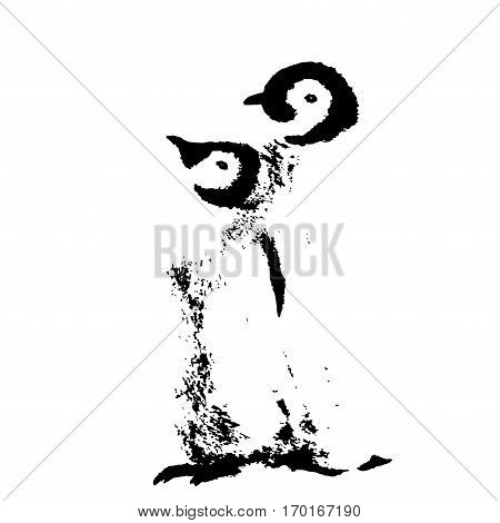 Cute Penguin family. Wild polar animal isolated on white background. Winter Artic character. Baby with mother. Graphic Bird design. Hand drawn vector illustration.