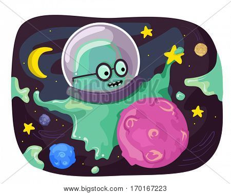 Sci-fi Illustration of a Slimey Green Monster Mascot Playing with a Pink Orb
