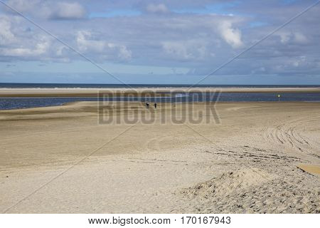 Empty beach at the island Ameland in Holland