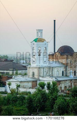 Tyumen, Russia - July 29, 2005: Restoration of Voznesensko-Georgiyevsky church