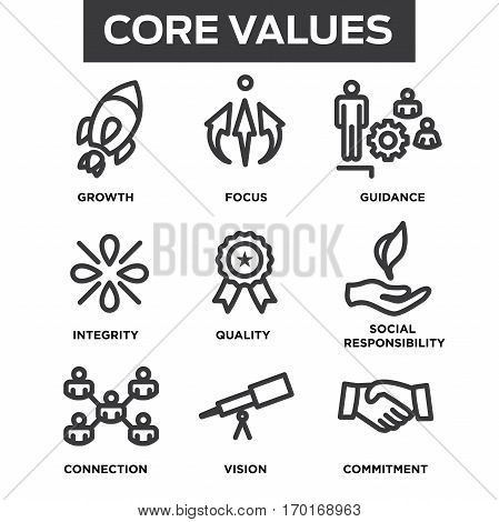 Company Core Values Outline Icons For Websites Or Infographics