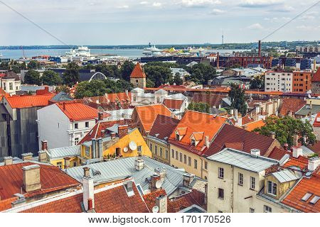 TALLINN ESTONIA - JULE 29 2013: Top panoramic view of old town Tallinn in sunny day