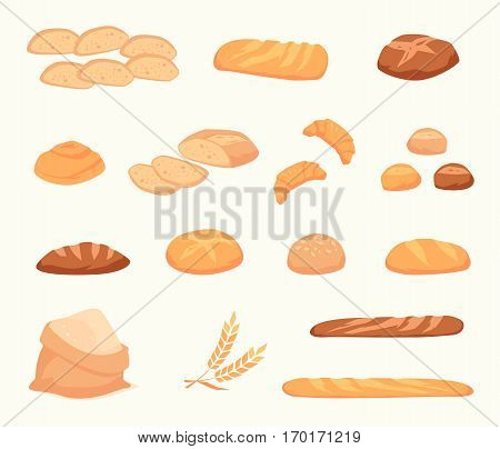 Set of cartoon food: bread - rye, ciabatta, wheat, whole grain , bagel, sliced , french baguette, croissant. Vector illustration, isolated on white.