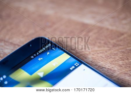 Smartphone With 25 Percent Charge And Sweden Flag