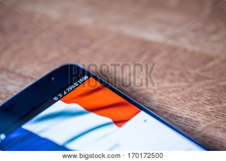 Smartphone With 25 Percent Charge And France Flag