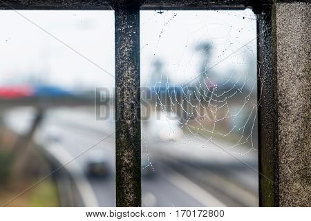 Day View Of Spider Web Over Uk Motorway