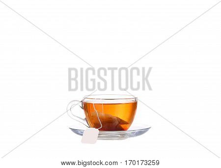 the full cup of tea on white background