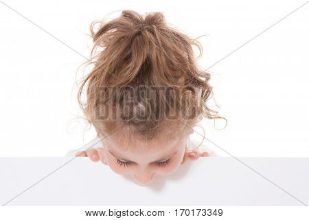 Young girl looking down