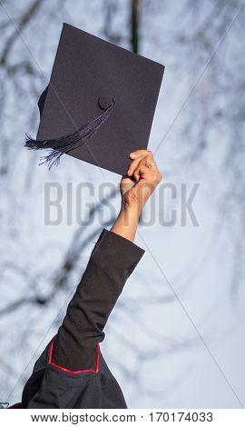 woman holding graduation cap