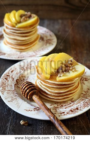 Pancake with honey caramelized apples and walnuts two portions