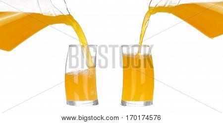 Collage,pouring Orange Juice And Slices Of Orange Isolated On White