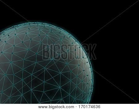 Technological futuristic space net  background. 3d rendering