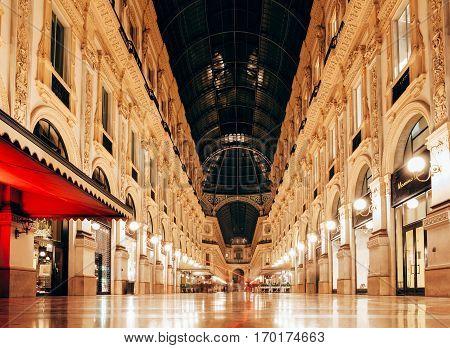 Milan, Italy - September 12, 2016: Night View Of Milan Vittorio Emanuele Ii Gallery