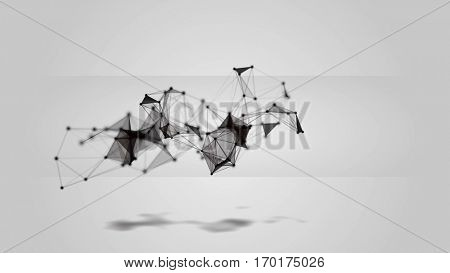 White abstract technology futuristic network - fantasy plexus background. 3D rendering.