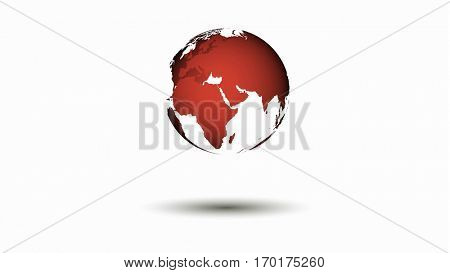 Red world map globe over a white background. Shadow dropped. 3D rendering.