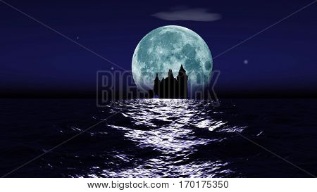 Big realistic moon rising over calm surface of ocean. Stars, clouds and a castle ruin in a distance. 3D rendering.