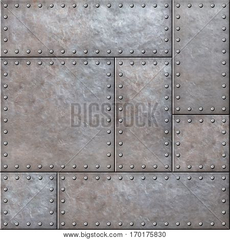 Old rustic metal plates with rivets seamless background or texture
