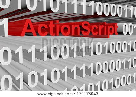 actionscript in binary code background, 3D illustration