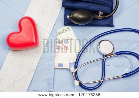 Money in the pocket of a medical uniform, heart, electrocardiogram, stethoscope and sphygmomanometer. Concept of the cost of medical service