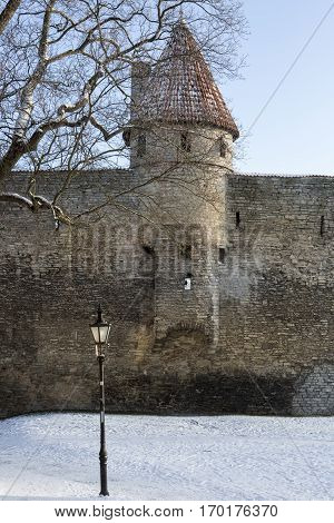 Tallin's old city walls during winter with snow, Estonia