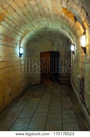 Dark spooky corridor in the dungeon