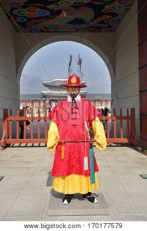 SEOUL - NOV 4, 2015: Korean monk in historical costume in Gyeongbokgung