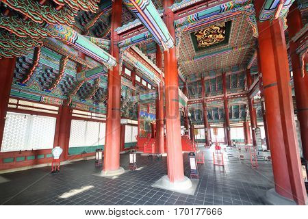 SEOUL - NOV 4, 2015: Inner decorated side of roof in palace of Gyeongbokgung complex. Palace was built back in 1394 by architect Korean Jeon Up John