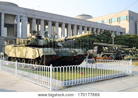 SEOUL - NOV 4, 2015: Tank in military museum. Tanks drove through downtown Seoul at time largest military parade in South Korea