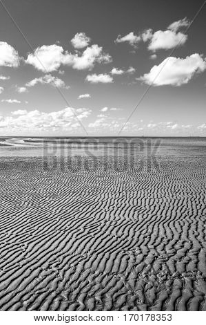 Black and white maritime landscape with reflection of clouds in low tide water Waddenzee Friesland The Netherlands