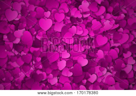 Abstract Purple, Violet and Lilac Textured 3d Hearts Vector Background. Valentine's Day illustration