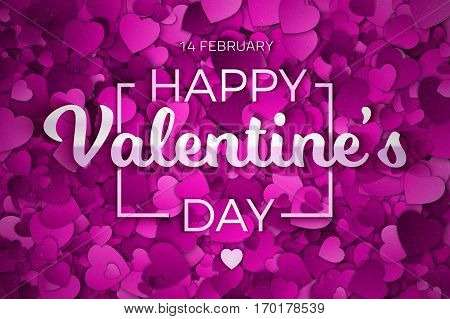 Valentine's Day Vector illustration. Abstract Purple, Violet and Lilac Textured 3d Hearts and Text Background