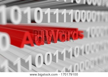 adwords as a binary code with blurred background 3D illustration